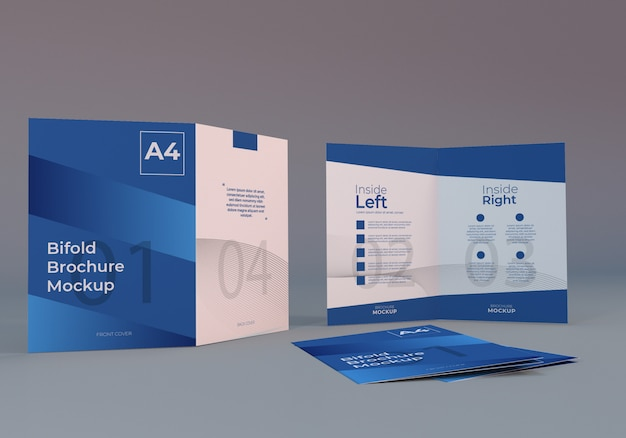 Minimal realistic a4 bifold brochure mockup with gray