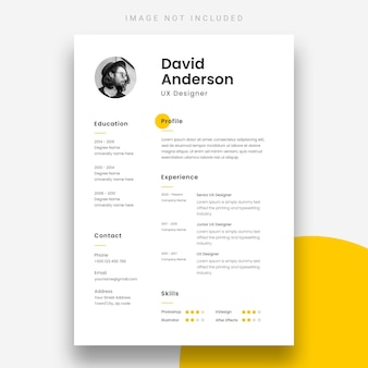 Minimal resume or cv design template