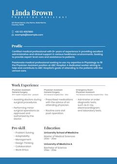 Modello modificabile di curriculum minimo psd in blu