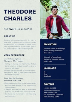 Minimal resume template psd with paper texture background with photo