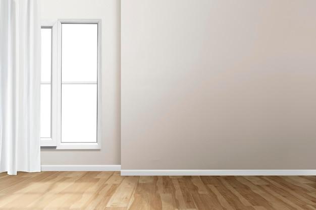 Минимальный макет стены комнаты psd с естественным освещением