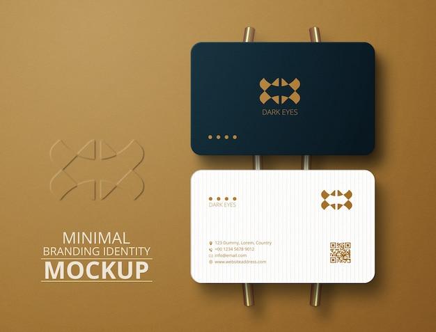 Minimal round corners business card mockup