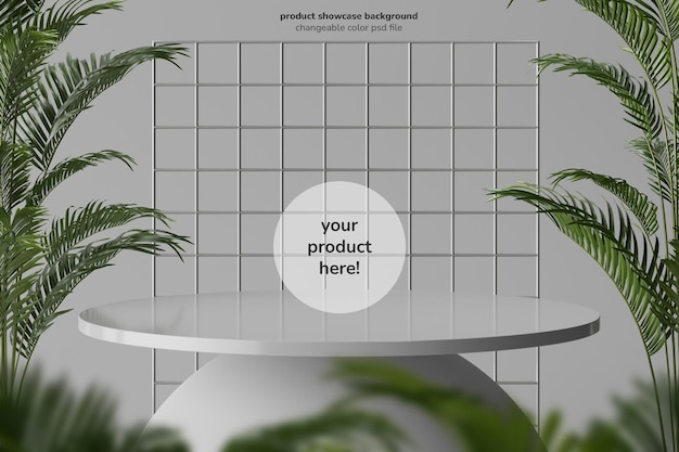 Minimal round modern podium table for product display with plants composition