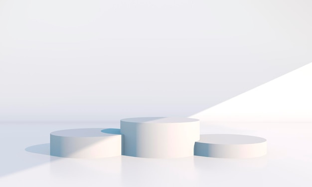 Minimal scene with geometrical forms in 3d rendering