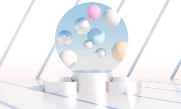 Minimal scene with geometrical forms, podiums in cream background with shadows. scene to show cosmetic product, showcase, shopfront, display case. 3d