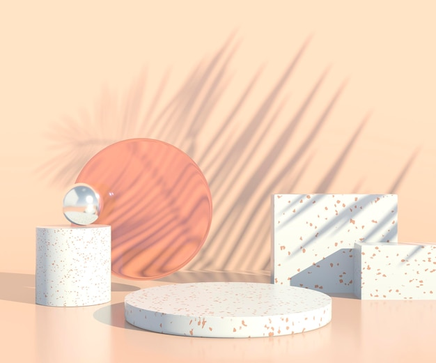 Minimal scene with geometrical forms, podiums in cream background with shadows