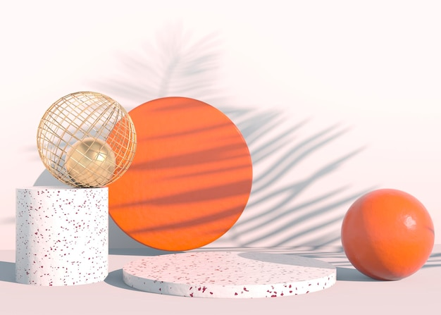 Minimal scene with geometrical forms podiums in cream background with shadows..