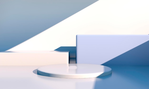 Minimal scene with geometrical forms, podiums in cream scene with shadows. scene to show cosmetic product, showcase, shopfront, display case. 3d