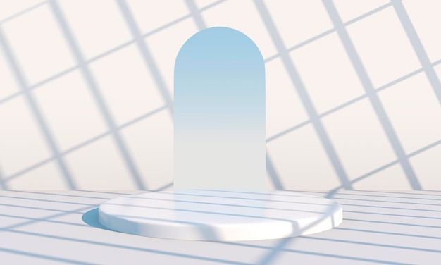 Минимальная сцена с геометрическими формами, подиумы на кремовом фоне с тенями. сцена для демонстрации косметического продукта, витрина, витрина, витрина. 3д