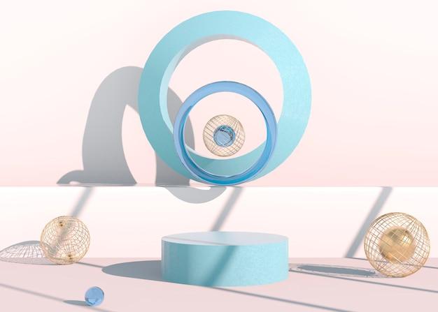 Минимальная сцена с геометрическими формами, подиумы на кремовом фоне с тенями. сцена для демонстрации косметического продукта, витрина, витрина, витрина. 3d