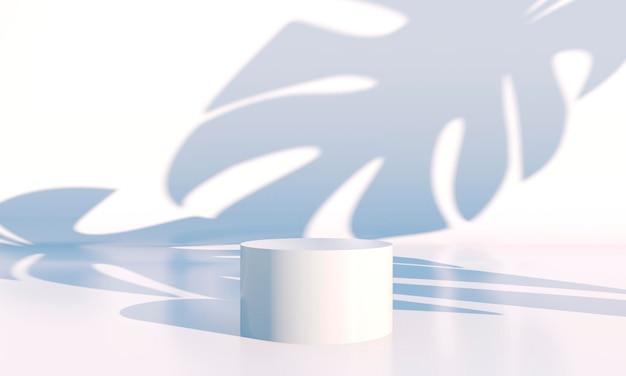 기하학적 형태가 있는 최소한의 장면, 그림자가 있는 크림 배경의 연단. 화장품, 쇼케이스, 매장, 진열장을 보여주는 장면. 3d