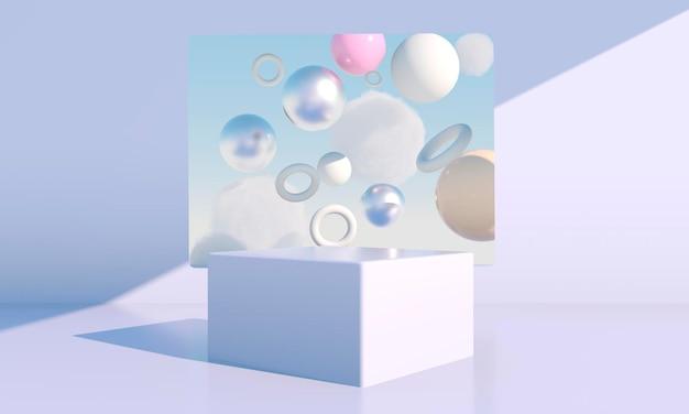 그림자가 있는 크림 배경의 기하학적 형태 연단이 있는 최소 장면 화장품을 보여주는 장면