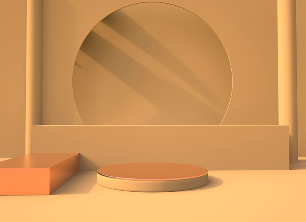 Minimal scene with geometrical forms podiums