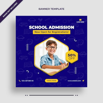 Minimal school admission social media post, square flyer or web banner template