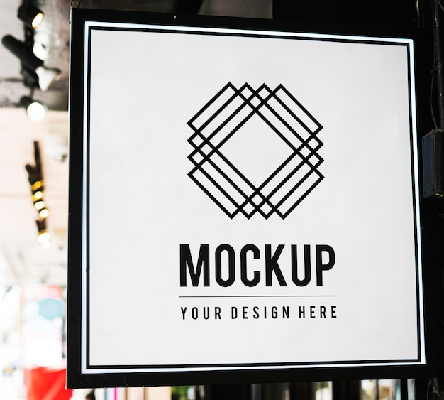 Minimal shop sign mockup with geometric design