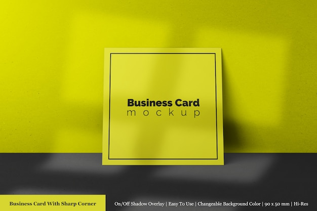 Minimal single square textured paper business card with sharp corner mockup