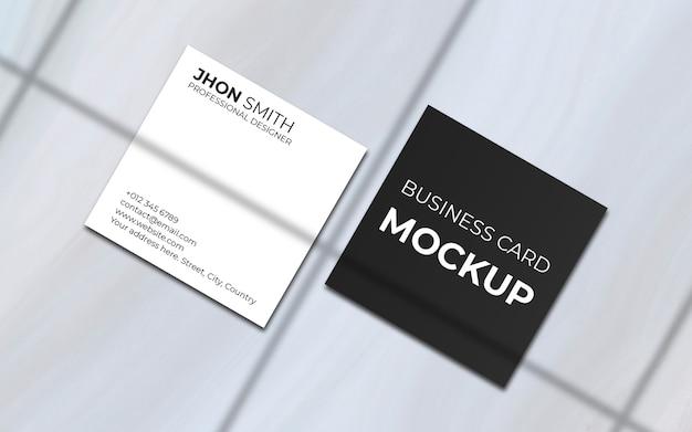 Минимальный квадратный макет визитки с тенью