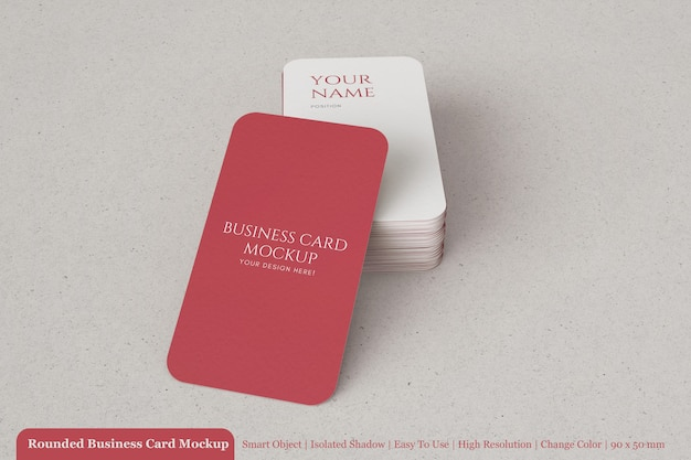 Minimal stack of 90x50mm textured paper business card with round corner mockup