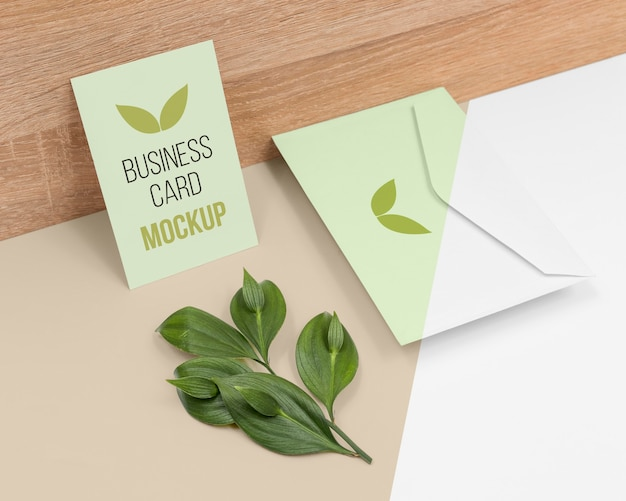 植物との最小限の文房具の配置