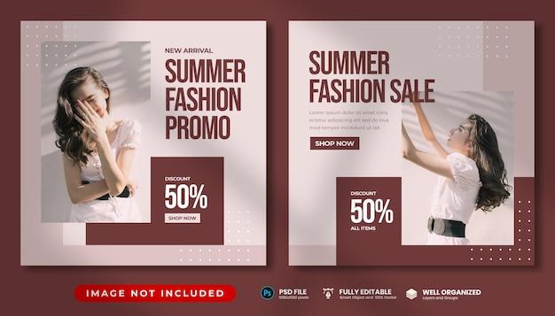 Minimal summer fashion promo instagram post template