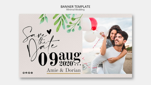 Minimal template wedding banner