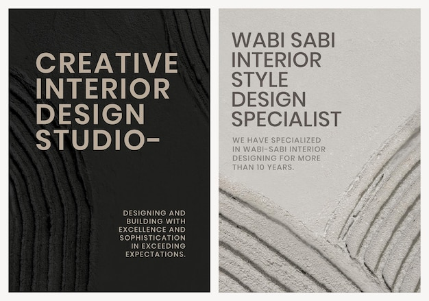 Minimal textured poster template psd for interior company dual set