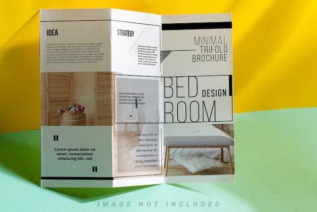Minimal trifold brochure with shadows