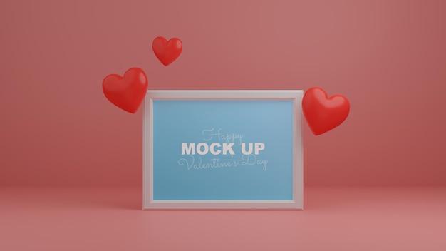 フレームモックアップと3dリアルなハートの最小限のバレンタインシーン