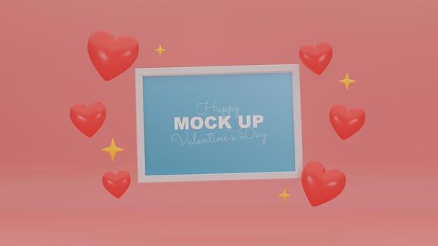 프레임 모형 및 3d 현실적인 마음으로 최소 발렌타인 장면