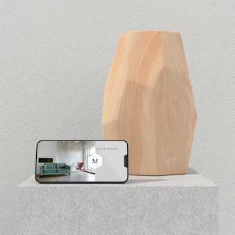 Minimal vase and phone mockup