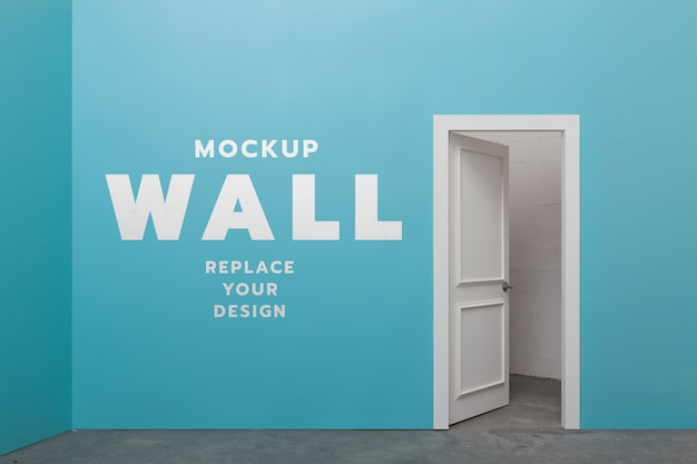 Minimal wall room and door mockup