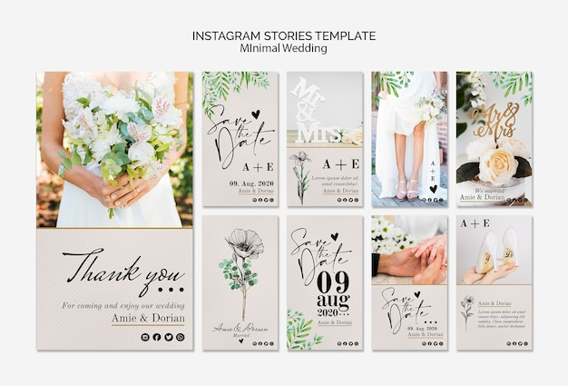 Minimal wedding instagram stories template