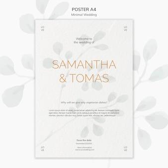 Минимальный свадебный пригласительный плакат Бесплатные Psd