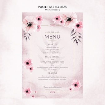 Minimal wedding poster menu