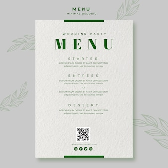 Minimal wedding save the date menu template
