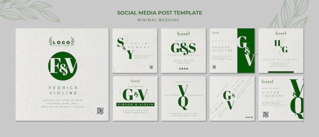 Minimal wedding social media post template