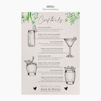 Minimal wedding template menu