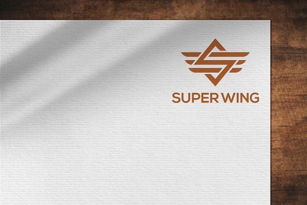 Minimal white paper logo mockup template