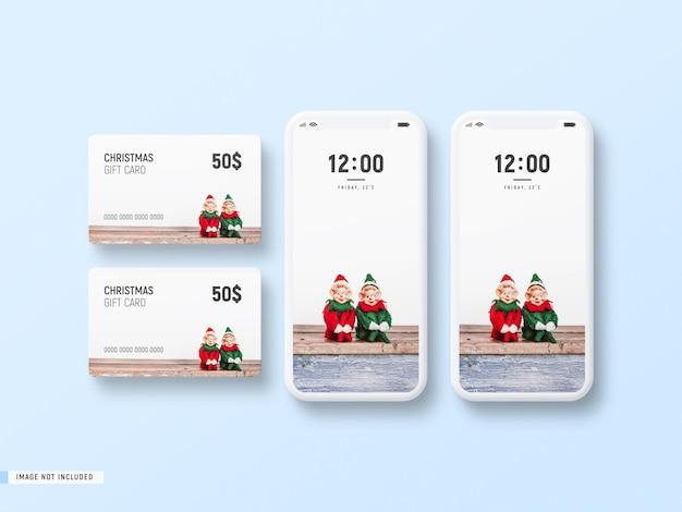Minimal white phone screen and christmas gift card mockup