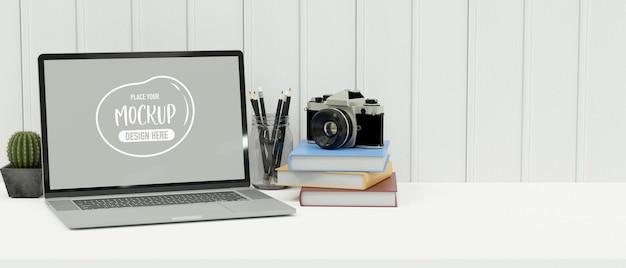 노트북이 있는 최소 작업 공간, 책상 위의 문구류, 로프트 벽의 선반, 복사 공간, 3d 렌더링, 3d 일러스트레이션