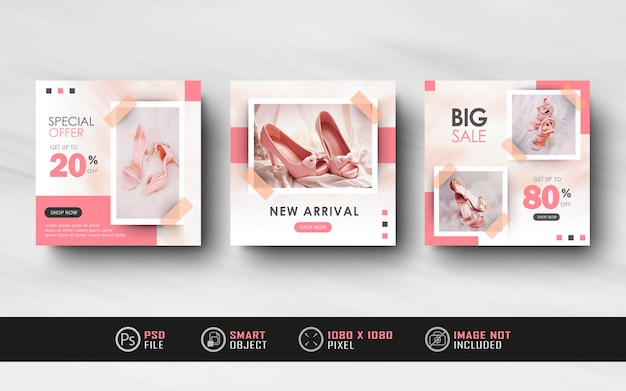 Minimalis pink instagram social media feed post feminine banner template