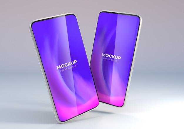 Плавающий шаблон макета смартфона minimalis для презентации