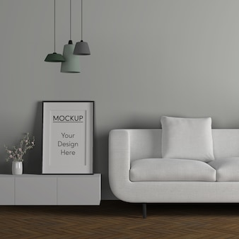 Minimalism concept with white sofa