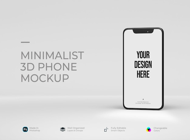Телефон минимализм с макетом интерфейса