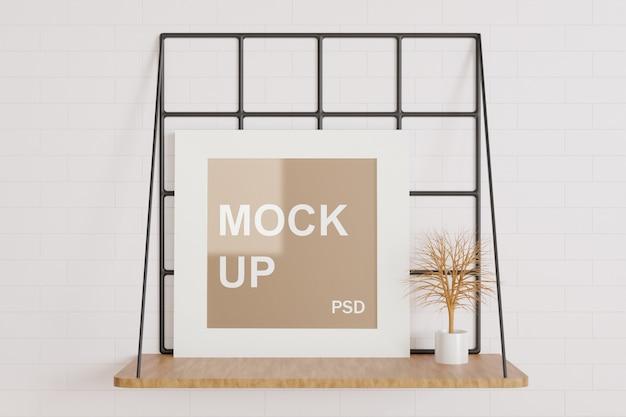 Minimalism white frame mockup on the table