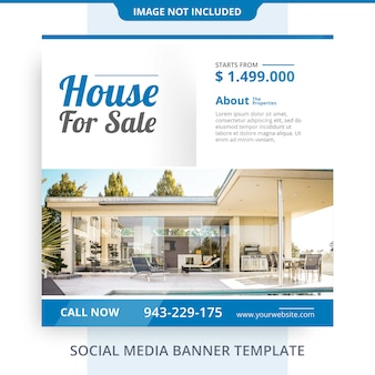 Minimalist agent home for sale real estate banner promotions template