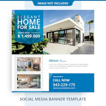 Minimalist agent home for sale real estate banner promotions template Premium Psd