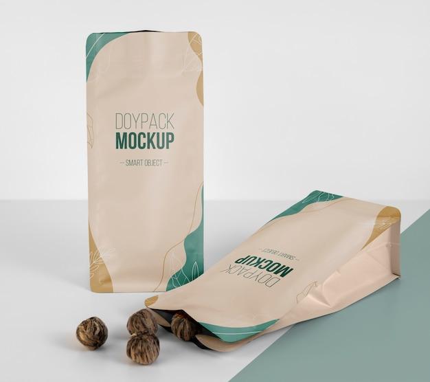 Minimalist arrangement of doypack mock-up