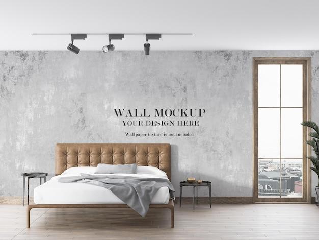 ミニマリストの寝室の壁のモックアップ
