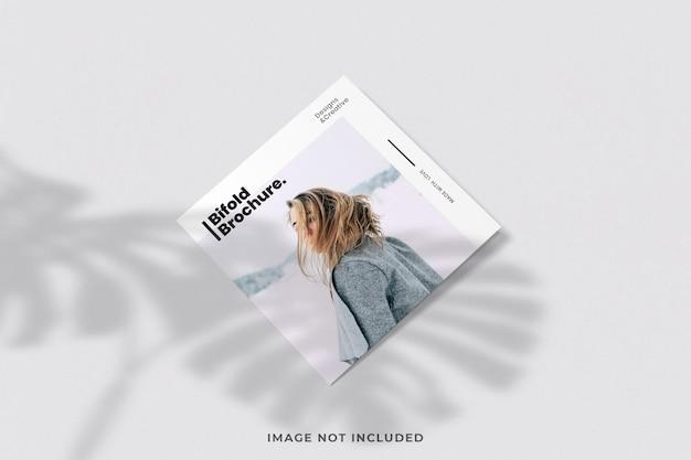 Minimalist bi-fold brochure or magazine cover mockup